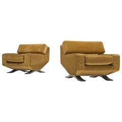 Grand Pair of Lounge Chairs in Original Mustard Green Velvet by Franz T. Sartori