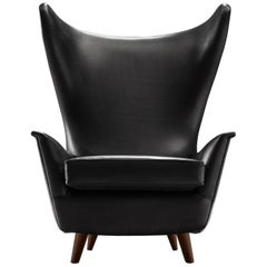 Grand Italian Wingback Chair Reupholstered in Black Aniline Leather