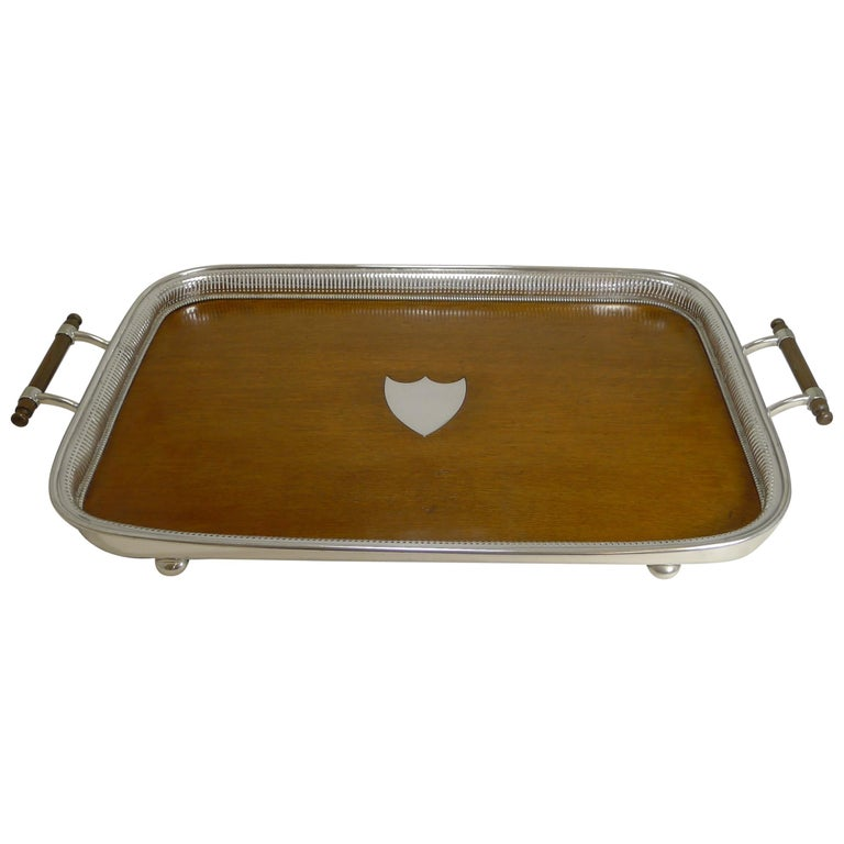 Grand Large Antique English Oak and Silver Plate Drinks / Serving Tray For Sale