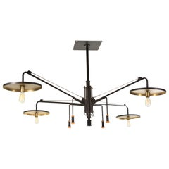 Grand Luminaire 4-Arm Light Fixture in Steel and Brass