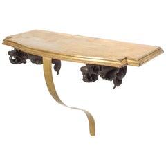 Grand Mahogany Gargoyle Bronze Wall Console Table Shelf Gold Curvy Leg, 1950s