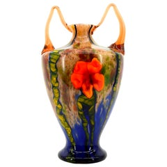 Grand Marquetry Flower Vase by Kralik, 1920s