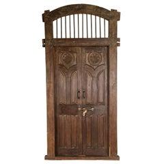 Grand Mid-19th Century Solid Teak Wood Entry Door from a Colonial Mansion