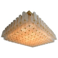 Grand Midcentury Flushmount, Chandelier in Structured Glass and Brass, Europe