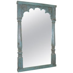 Grand Mirror Using Solid Teakwood Open Window from a Late 19th Century Castle