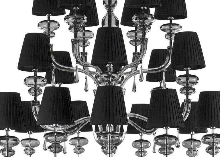 Italian Venetian Murano chandelier shown in gray Murano glass on nickel metal frame with black plisse lampshades 24 lights / E12 or E14 type / max 40W each  Measure: Diameter 51 inches / height 51 inches Order only / Made in Italy  This item ships