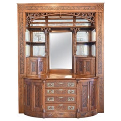 Grand Oak Buffet with Beveled Mirrored Ceiling