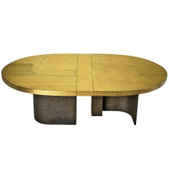 Grand Oval Dining Table with Etched Brass Top and Sculptural Metal Base