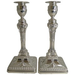 Grand Pair of English Silver Plated Adams Style Candlesticks, Ram's Heads