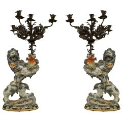 Grand Pair of 19th Century French Lion Form Candelabra by Emile Galle