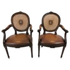 Theodore Alexander Grand Pair of Caned and Cameo Back Armchairs