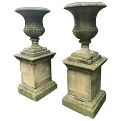 Grand Pair of Carved Yorkstone Urns Owned by the Duke of Marlborough