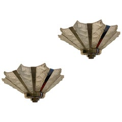 Grand Pair of French Art Deco Geometric Wall Sconces Signed by Degue