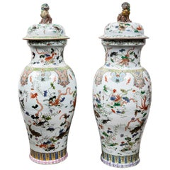 Grand Pair of Porcelain, Chinese Floor Urns