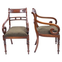 Grand Pair of Regency Style Tulip Back Armchairs Desk Chairs