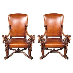 Grand Pair of Venetian Baroque Style Arm Chairs, Manner of Andreas Brustoloni