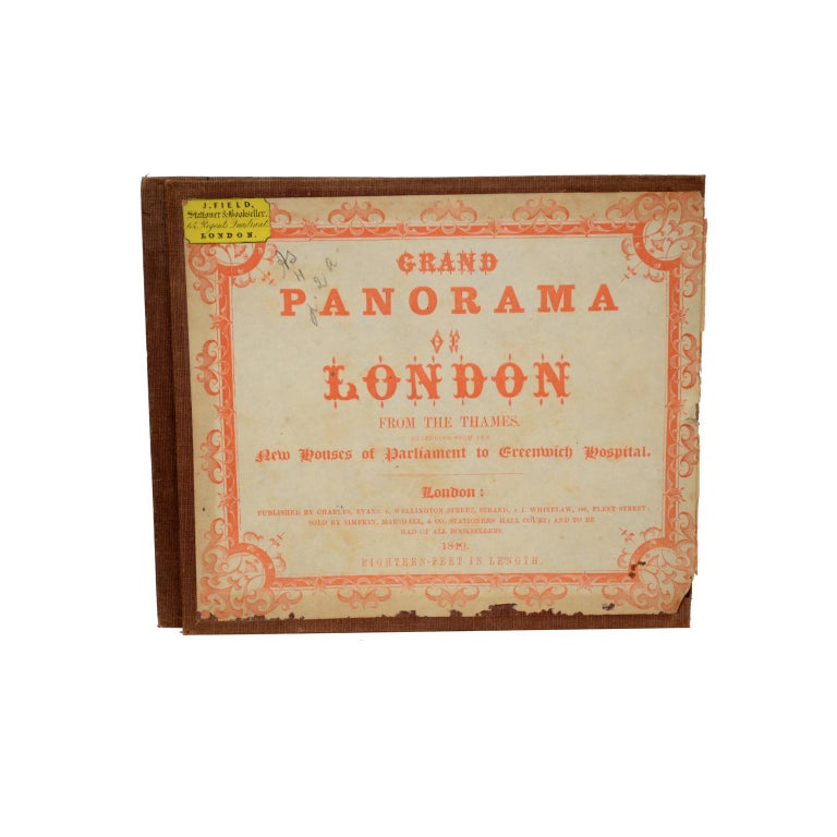 Grand Panorama of London, a very special map of London seen from the Thames, published by Charles Evans and I. Whitelaw in 1849, realized on a long single strip of printed paper folded into a booklet with fabric cover and gold colored letters. Good