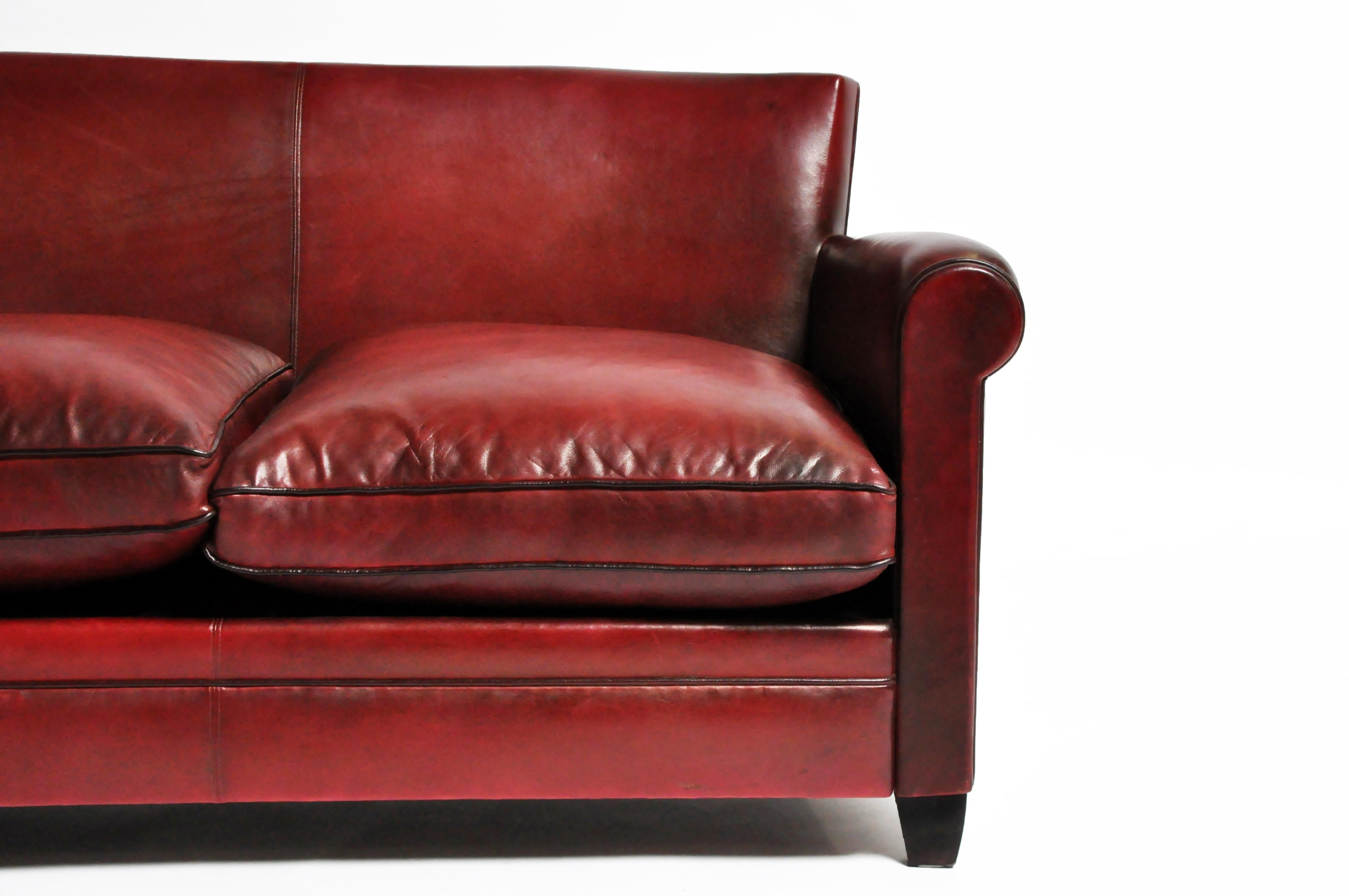- Grand Parisian Style Red Leather Sofa For Sale At 1stdibs