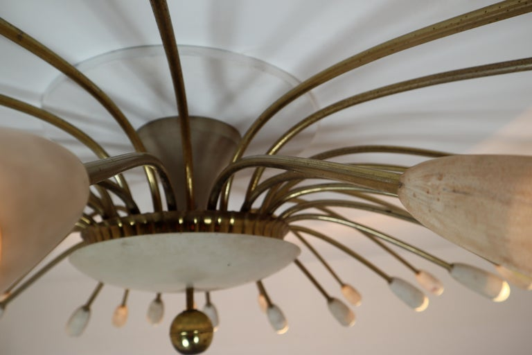 Mid-Century Modern Grand Patinated Brass Midcentury Spider Form Sputnik Chandelier Germany, 1950s For Sale