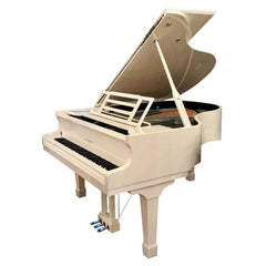 Grand Piano Glossy White Polish by Feurich Post Modern Chrome Art Déco Style