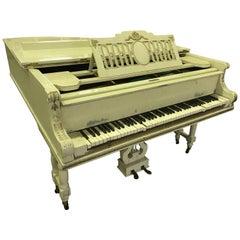 Grand Piano Russian Romanov Tsar Nicholas Connection, White Gold, Incl. Restor