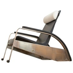 Grand Repos Lounge Chair Jean Prouvé Black Leather Reclining Edited by Tecta