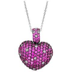 Grand Sample Sale Pendant, Pink Sapphire Vanilla Diamonds 18 Karat Vanilla Gold