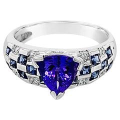 Grand Sample Sale Ring, Tanzanite, Blueberry Sapphire Set in 18k Vanilla Gold