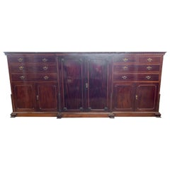 Grand Scale 19th Century Chippendale Style English Mahogany Wardrobe Cabinet