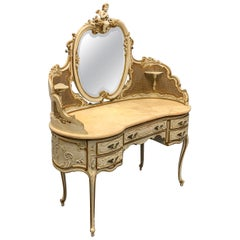 Grand Scale Antique Italian Paint and Bronze Gilt Dressing Table with Marble Top