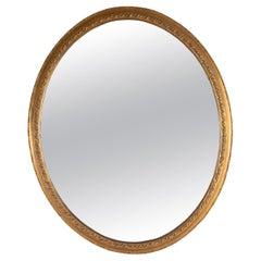 Grand Scale English 19th Century Oval Mirror