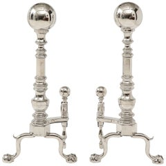 Grand Scale Hollywood Regency Nickel Andirons