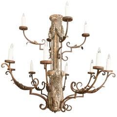 Grand-Scale Italian Wooden Chandelier