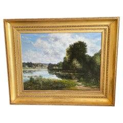 Grand Scale Mid-19th Century Barbizon Oil Painting