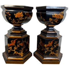 Grand Scale Pair of Chinoiserie Decorated Urns by Maitland Smith