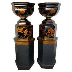 Grand Scale Pair of Chinoiserie Decorated Urns with Bases by Maitland Smith