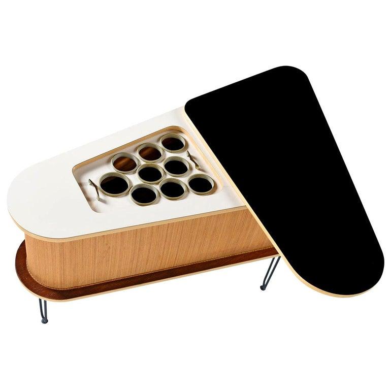 Grand Server Biomorphic Expandable Black Laminate Slide-Open Top Bar, 1960s For Sale