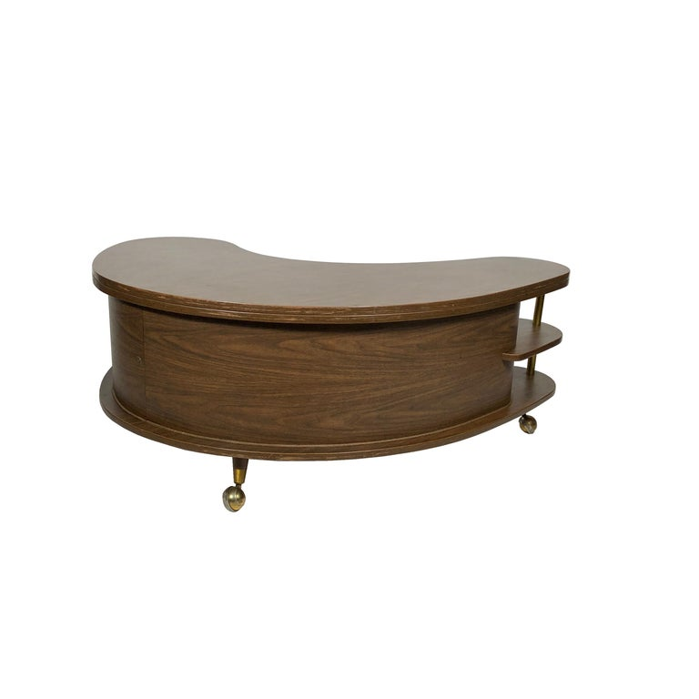 Grand Server Boomerang Kidney Shaped Walnut Coffee Table Bar Cabinet, 1960s For Sale 4