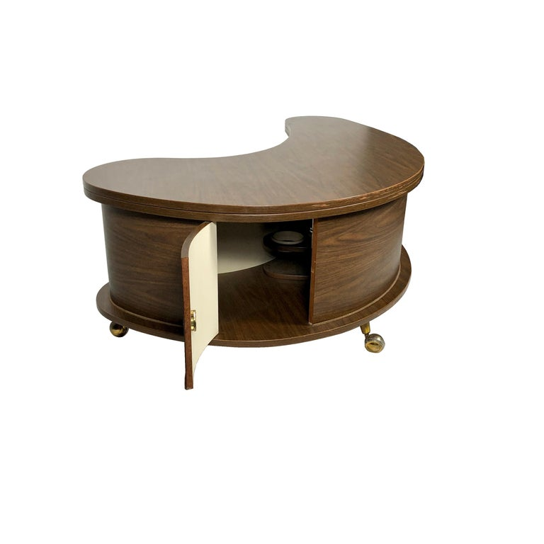 American Grand Server Boomerang Kidney Shaped Walnut Coffee Table Bar Cabinet, 1960s For Sale