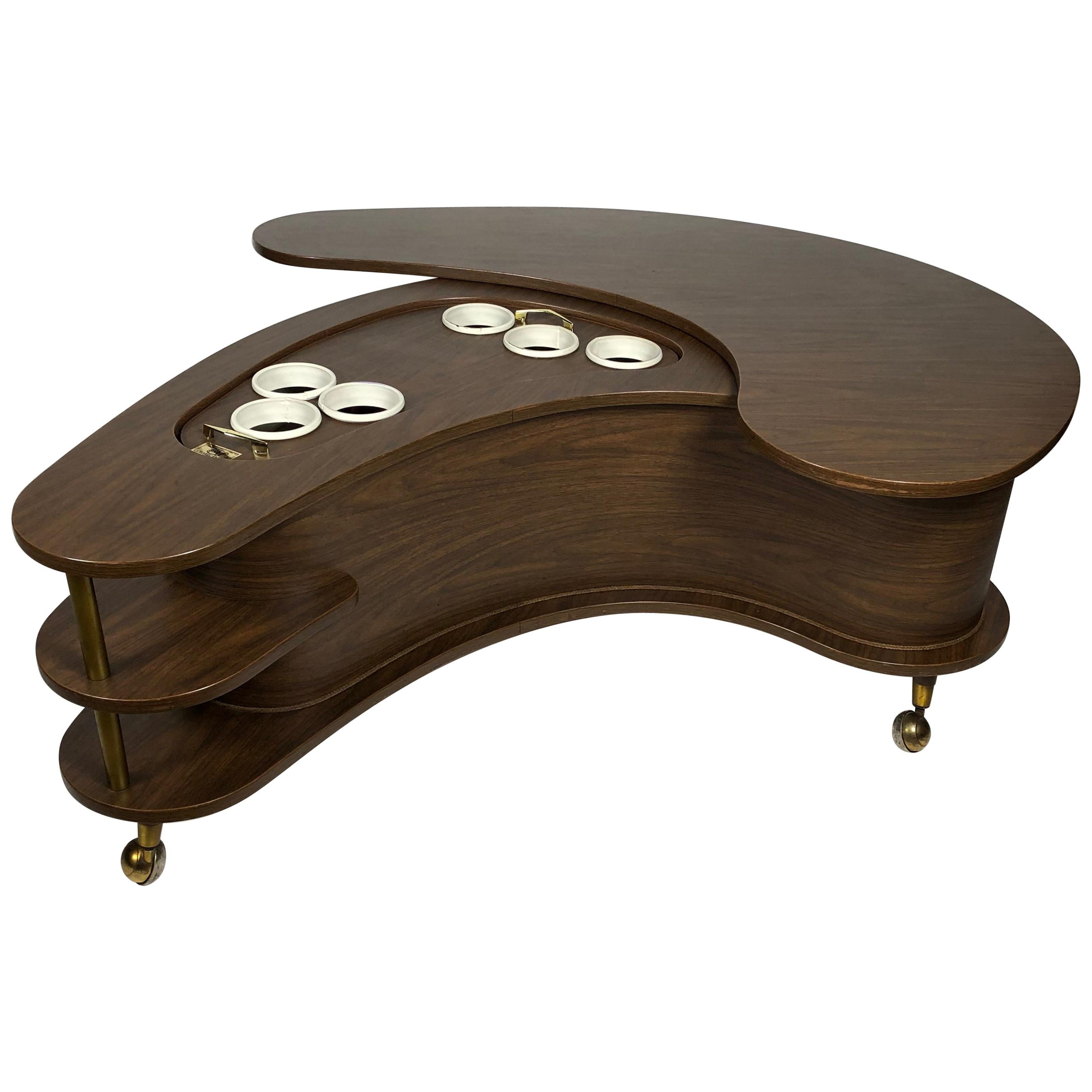 Grand Server Boomerang Kidney Shaped Walnut Coffee Table Bar Cabinet, 1960s