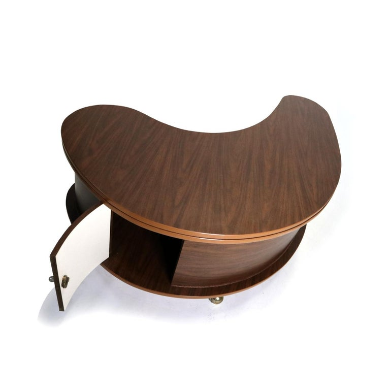 Grand Server Boomerang Kidney Shaped Walnut Coffee Table Bar Cabinet 4