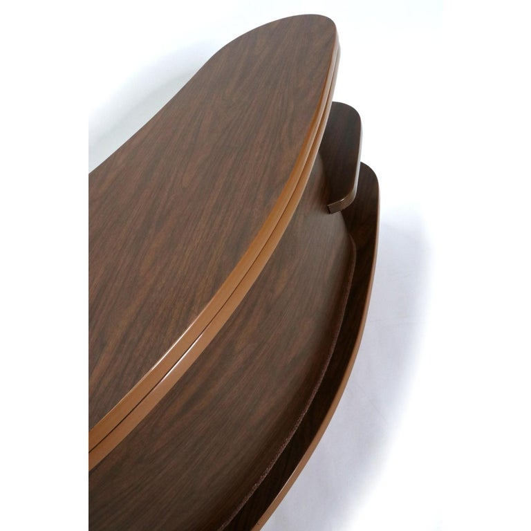 Grand Server Boomerang Kidney Shaped Walnut Coffee Table Bar Cabinet 5