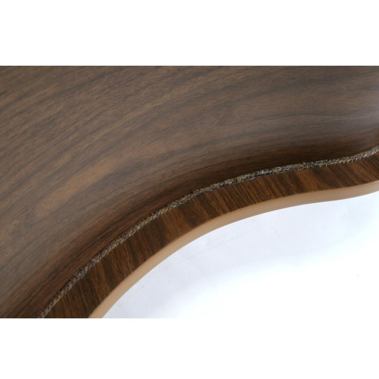 Formica Grand Server Boomerang Kidney Shaped Walnut Coffee Table Bar Cabinet