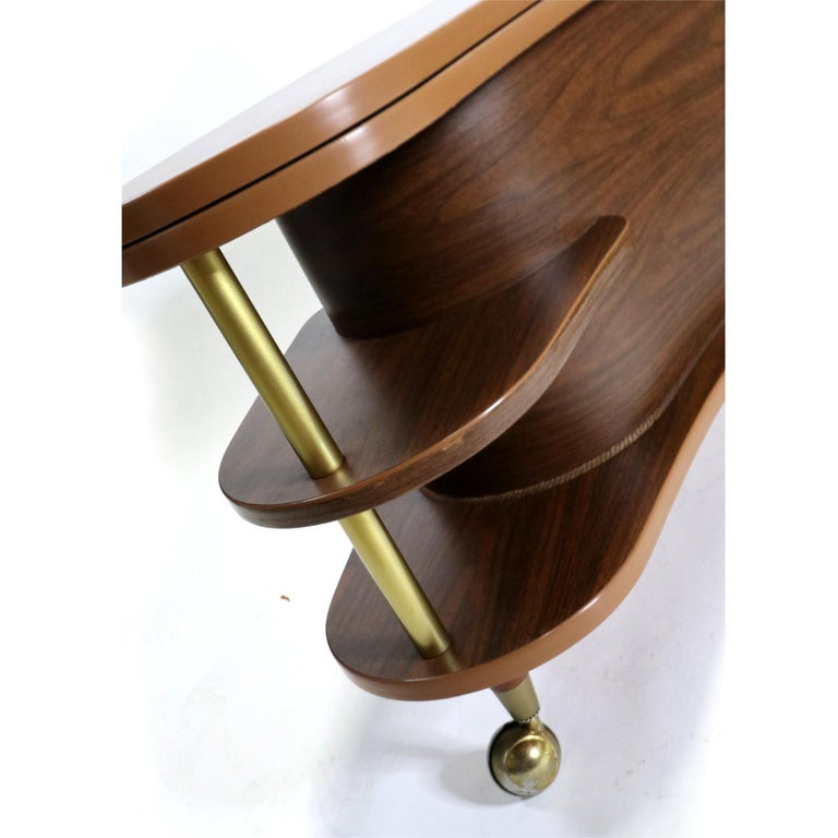 Grand Server Boomerang Kidney Shaped Walnut Coffee Table Bar Cabinet 1