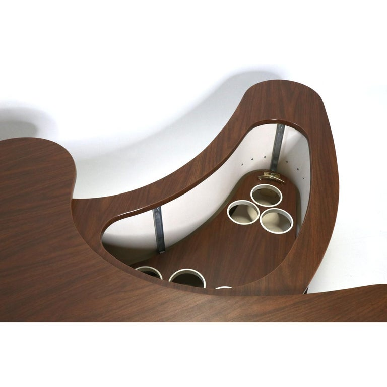 Grand Server Boomerang Kidney Shaped Walnut Coffee Table Bar Cabinet 2
