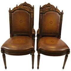 Grand Set of 4 Theodore Alexander Carved Walnut and Leather Side Dining Chairs