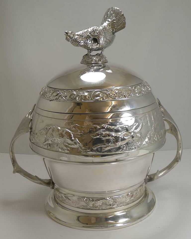 Grand Silver Plated Hunting Tureen by WMF, circa 1920, Signed For Sale 6