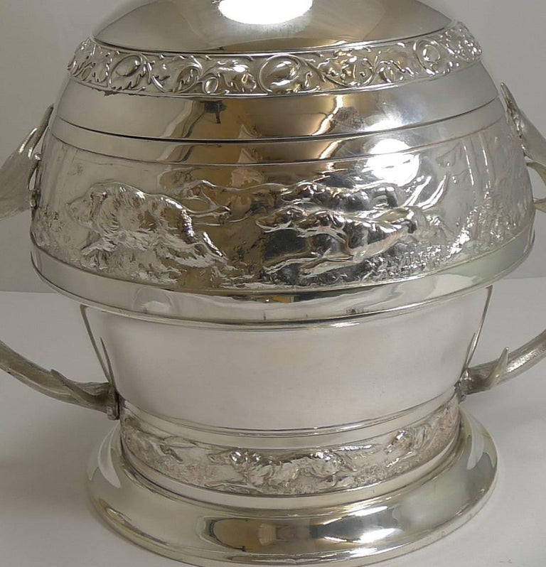 Grand Silver Plated Hunting Tureen by WMF, circa 1920, Signed For Sale 7