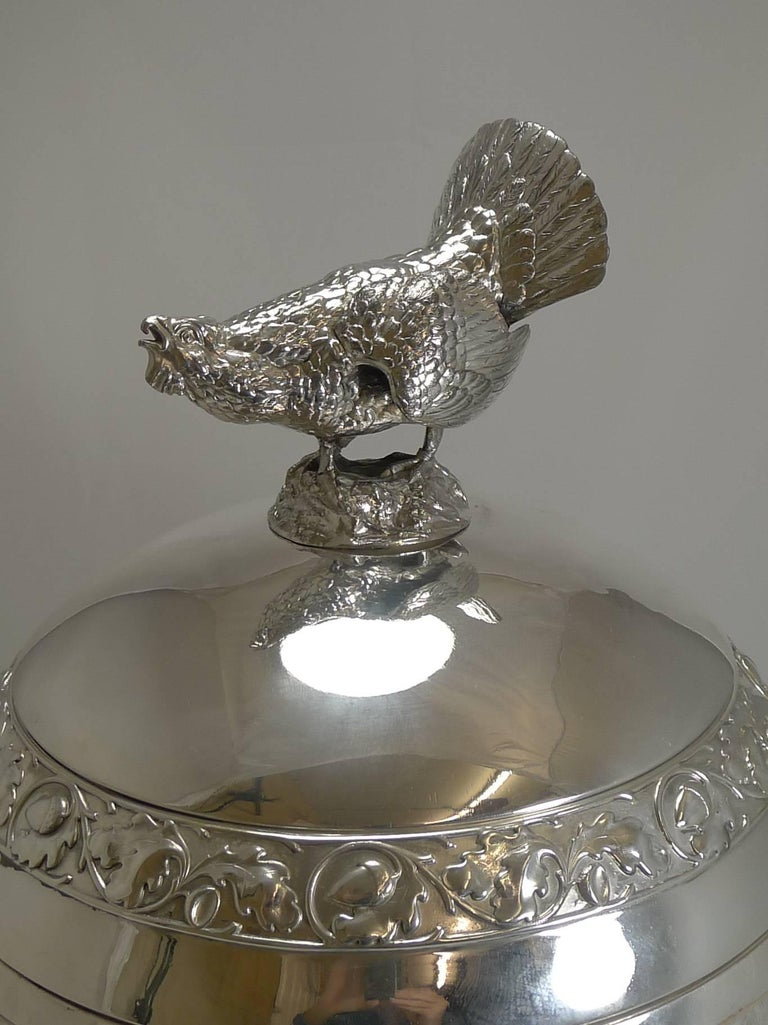 Grand Silver Plated Hunting Tureen by WMF, circa 1920, Signed For Sale 8