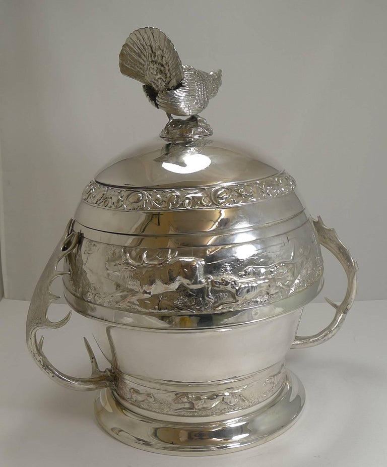 Grand Silver Plated Hunting Tureen by WMF, circa 1920, Signed For Sale 9